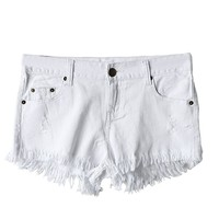 Vintage Denim Hot Pants with Tassel Hem in White