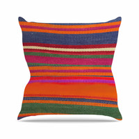 "S Seema Z ""LINE ART"" Orange Multicolor Throw Pillow"