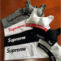 Supreme Casual Sport Cotton Vest Pants Trousers Set Two-Piece Sportswear