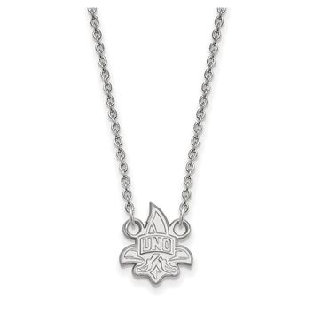 NCAA 10k White Gold U of New Orleans Small Pendant Necklace