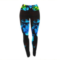"Claire Day ""Deep Within"" Blue Green Yoga Leggings"