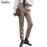 Women vintage office lady plaid pants side striped pockets zipper fly casual ankle length trousers