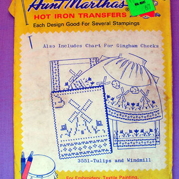 "Aunt Martha's ""Tulips and Windmills"" Hot Iron Transfer Pattern 3551 for Embroidery, Fabric Painting, Needle Crafts"