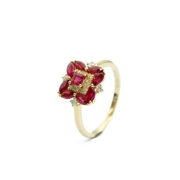 LEmerald Cut 1.13ctw Natural Ruby Gemstone Marquise Side Stone Floral Style 18k Rose Gold Halo Diamond Engagement Ring