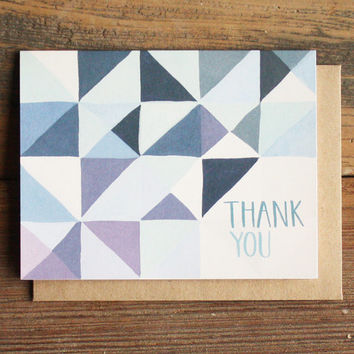 Blue Geometric Thank You Illustrated Card