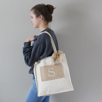 Burlap Tote Bag - Bridesmaid Gift - Monogrammed Gift - Beach Bag - Canvas Tote - Rustic Wedding