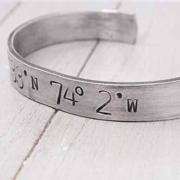 Coordinate Cuff, Personalized Latitude Longitude Cuff, Personalized Bracelet, Stamped Aluminum Bracelet, Personalized Jewelry