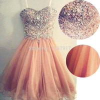 Real Picture Hot Sale Popular Spaghetti Strap Tulle Beaded Short Coral Prom Dress Peach Prom Gown