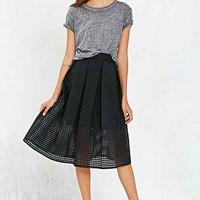 Silence + Noise Sheer Gingham Midi Skirt-
