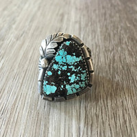 Vintage Native American Handmade Mens Blue Turquoise Ring in 925 sterling silver, size 11.5