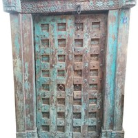 Farmhouse Style Antique Indian Beautiful Distressed Doors Hand Carved Haveli Teak Wood Vintage Wooden Architectural Double Doors