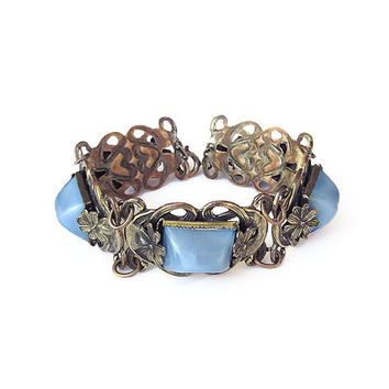 Art Deco Bracelet, Satin Glass, Sugarloaf, Gold Tone, Floral Metal, Art Nouveau, Antique Jewelry, Vintage Bracelet