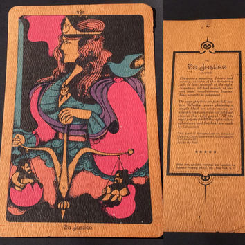 Vintage Tarot Cards Linweave Tarot Cards The Chariot Justice and the Emporer Lithographs 1967