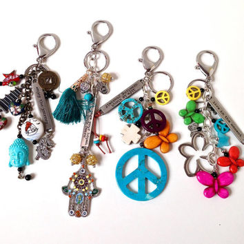 Boho purse clip keychain, bohemian purse charm, inspirational gift, peace sign key ring, asian inspired bag clip, mod hippie accessory