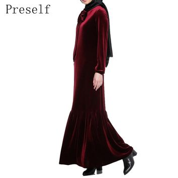 Preself Women Casual Elegant Long Sleeve Velvet Vintage Pleats Ruffles Hem Maxi Dress Abaya