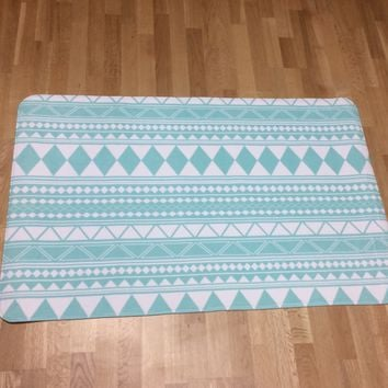 Mint Tribal Pattern Rug, Nursery Rug, Girls Room Decor