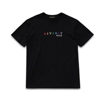 qiyif 2017 Beverly Hills Embroidery Letter T Shirt