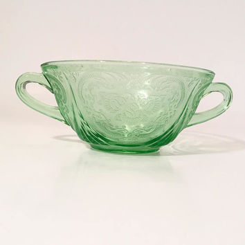 Green Depression Glass Soup Bowl, Hazel Atlas Royal Lace Pattern, Green Glass Depressionware