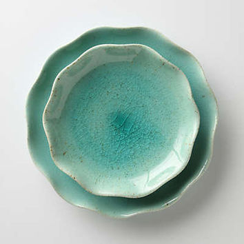 Lotus Side Plate by Anthropologie Blue One Size Dinnerware