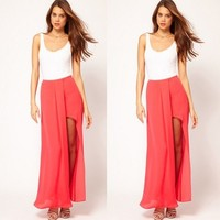 Sexy Womens Solid Chiffon Long Maxi Skirt Layered Open Side Split Dress Summer