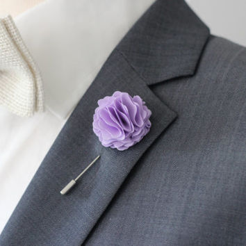 Lavender, lilac Carnation boutonniere, mens lapel flower pin, wedding boutonniere, flower lapel pin, valentines day gift