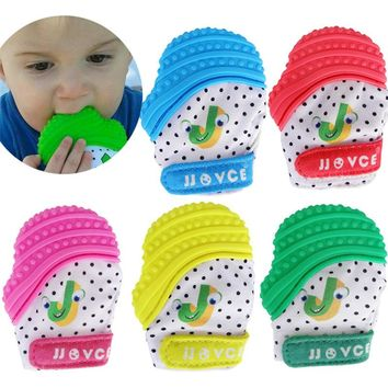 1pcs  Small Baby Food-Grade Silicone Teething Mitten for Petite or Preemie Babies Pacifier Glove Teeth Beads