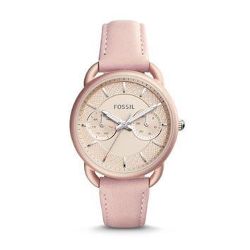 Tailor Multifunction Leather Watch, Blush | FOSSIL