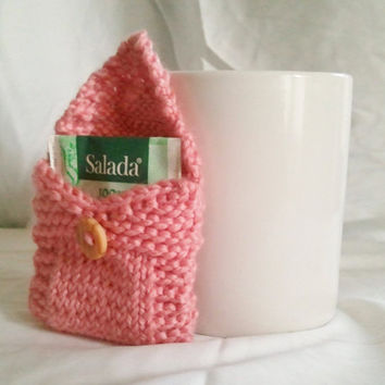 Tea Tote Tea Holder Tea Bag Purse in Light Pink by MadebyMegShop