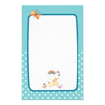Happy Unicorn with Rainbow Clouds and Flowers Stationery