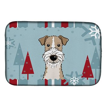 Winter Holiday Wire Haired Fox Terrier Dish Drying Mat BB1743DDM