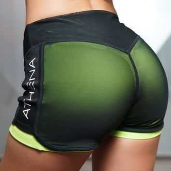 BINAND Letter Print Mesh Elastic Waist Sports Yoga Shorts Women Sweat-wicking Breathable Slim Fit Gym Workout Jogging Shorts