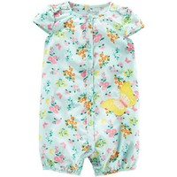 Child of Mine by Carter's Newborn Baby Girl One Piece Button Up Romper - Walmart.com
