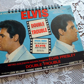 Altered LP Record Journal / Notebook ELVIS  Double Trouble - LP Record Art Handmade