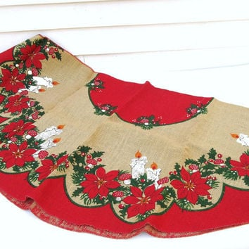 Vintage Burlap Tree Skirt, Christmas Tree Skirt, Burlap Tablecloth, Sack Cloth, Poinsettia,  Mushrooms,  Christmas Candles