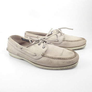 Boat Shoes Vintage 1980s Dexter Dex White Leather Women's 10 M