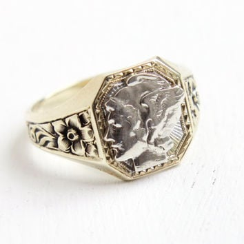 Antique 10k Yellow Gold & Silver Mercury Dime Coin Ring - 1920s Art Deco Size 10 Men's Flower Design Winged Lady Liberty Head Jewelry