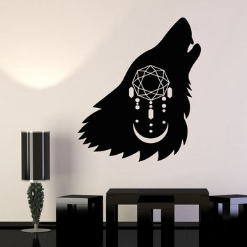 Vinyl Wall Decal Howling Wolf Head Dreamcatcher Moon Predator Stickers Unique Gift (1388ig)