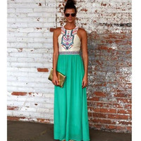 Fashion Color Block Sleeveless Pleated A-Line Maxi Dress = 4765091396