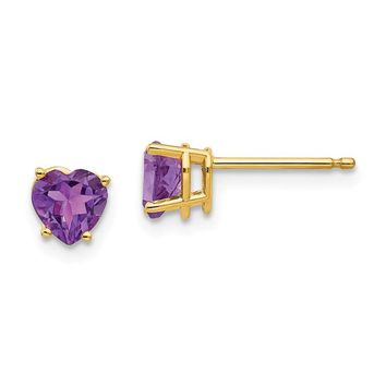 14k Gold 5 mm Heart Amethyst Earrings