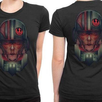 ESBH9S Star Wars The Force Awakens Resistance Army Illustrations Fan Art 2 Sided Womens T Shirt
