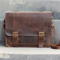 Handmade Ipad Mini Leather Messenger Bag / Briefcase - Brown Bag - Cowhide Leather / Leather Purse / Hand Bag / Hip Bag / Shoulder Bag