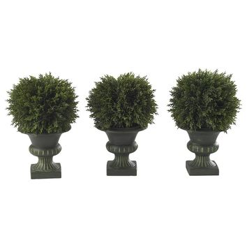Silk Flowers -9 Inch Cedar Ball Topiary -Set Of 3 Artificial Plant