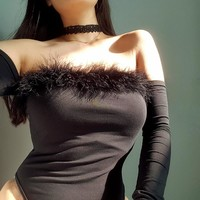 Slim One-piece Winter Long Sleeve Sexy T-shirts [167761510415]