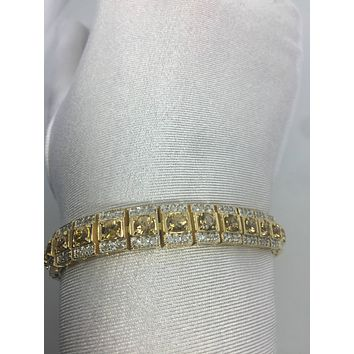 Vintage Handmade Mosaic Genuine Golden Citrine Gold Rhodium Finished 925 Sterling Silver Tennis Bracelet