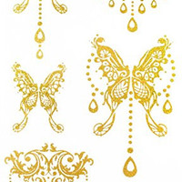"""Latest hot selling and fashionable tattoo sticker product dimension 6.69""""""""x3.74"""" jewelry butterfiles Golden gold realistic temporary tattoo stickers"""