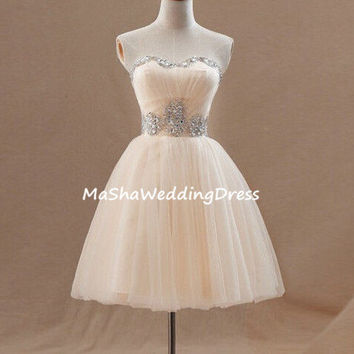 Custom Strapless Sweetheart Ball Gown Dress Short Organza Bridesmaid /Homecoming / Prom /Evening /Party  Dresses