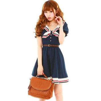 2017 Japanese fashion preppy princess dress harajuku sailor collar navy lolita dress cotton bow dress pink for soft sisters W78