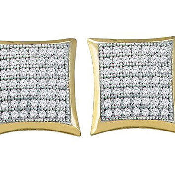 Diamond Micro Pave Earrings in 10k Gold 0.33 ctw