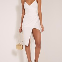 Lauriell White Wrap Front Crepe Midi Dress - Dresses - PrettylittleThing | PrettyLittleThing.com