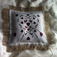 Burlap Ring bearer pillow with burgundy satin panel and freshwater pearls, perfect rustic wedding decoration